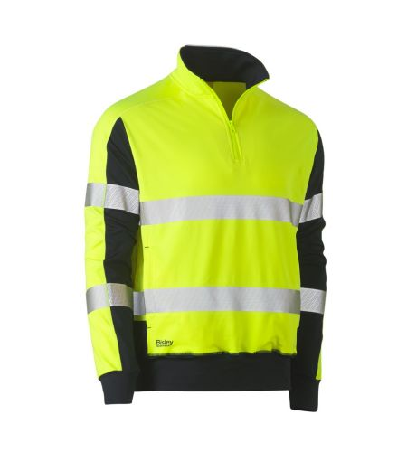 BISLEY TAPED TWO TONE HI VIS CONTRAST STRETCHY 1/4 ZIP PULLOVER